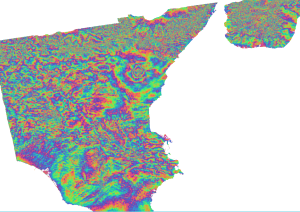 Mt Etna IW Interferogram with Topographic Phase Removed -