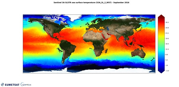 Global SST map (September 2016) derived from Sentinel-3A/SLSTR data